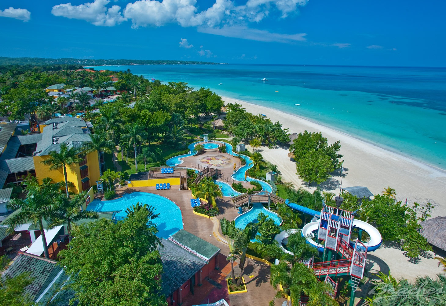 Beaches Negril Resort & Spa aerial view of beach and water park