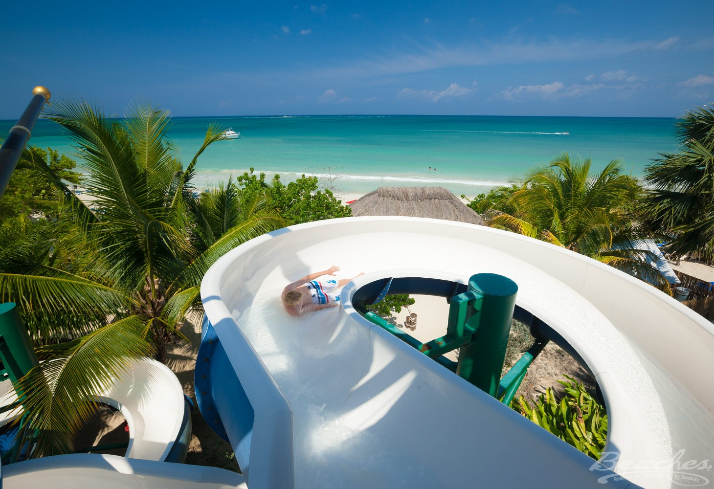 water slides overlooking ocean at Beaches Negril