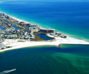 aerial view of Destin Florida and the East Pass