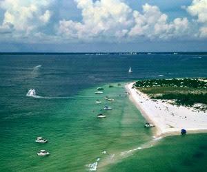 Aerial of Shell Island in Panama City Beach Florida